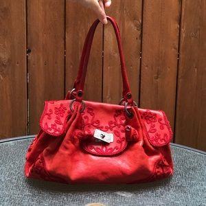 Vintage Moschino Leather Embroidered Handbag